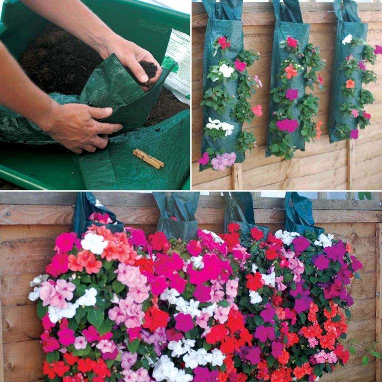 Závesné kvetinové tašky a tuby